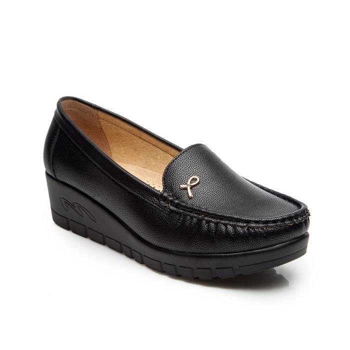 Plateforme Pour Travail Chaussures Plate De Bateau Comf Pour forme Confortable Plates Noir Femmes Mocassin 44qSwYT