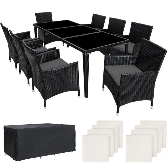 TECTAKE Salon de Jardin MONACO Résine Tressée 8 Personnes 8 Fauteuils 1  Table + 1 Housse Noir