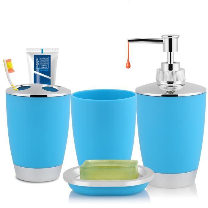 4pcs Set Salle De Bains De Necessites De Toilettes Bleu Boite Savon