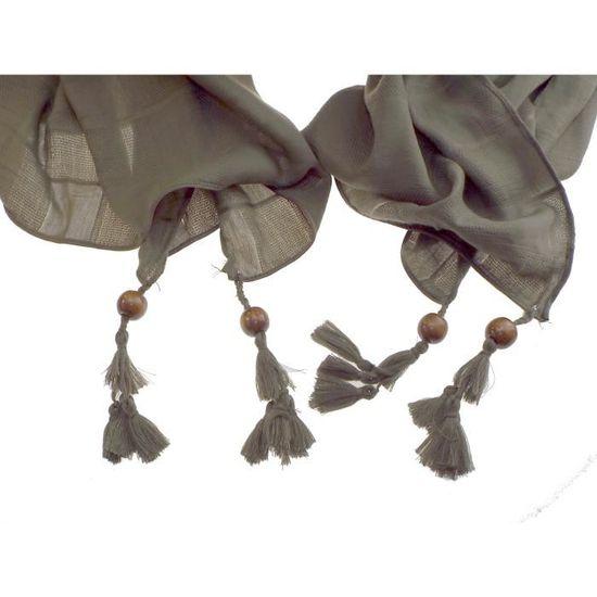 07fb048a5185 1 foulard kaki - fantaisie perle de bois sur chaque extrémité femme -  adolescente - 100% acrylique - L  200 cm - H  90 cm Vert - Achat   Vente  echarpe ...