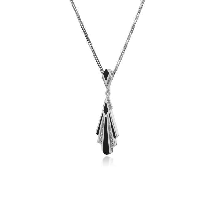 Gemondo Pendentif Argent sterling Marcassite Argenté & Onyx- 45 cm