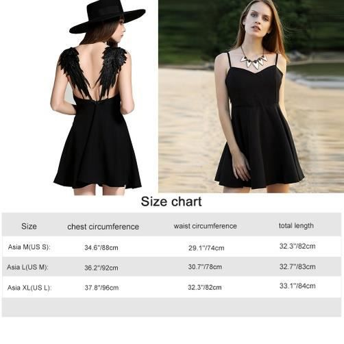 Fitibest Robe Casual V Neck Beach pour les femmes, Wings Décoration, Noir