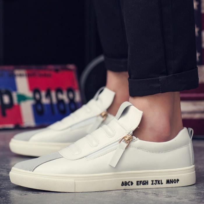 Mode Cuir Chaussures Hommes Respirant Souliers simple d'homme Side Slip fermeture à glissière Mocassins Flats,noir,8