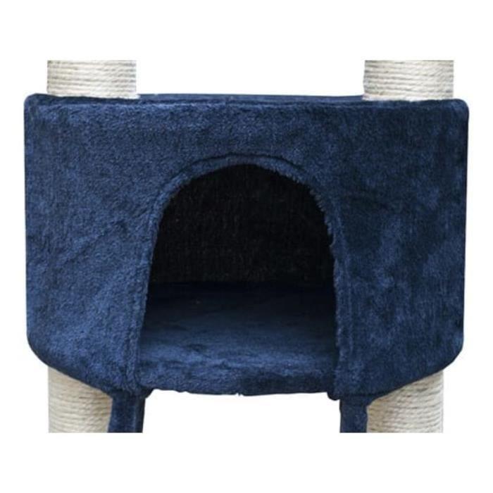 Arbre À Chat De Luxe 230-260 Cm En Peluche Bleue Foncée