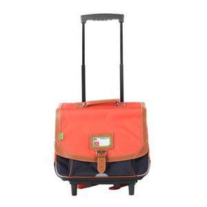 TANN'S Trolley 2 compartiments primaire garçon - 38 cm - Orange / Gris