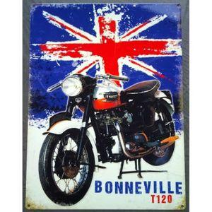 OBJET DÉCORATION MURALE plaque triumph bonneville t120 sur drapeau anglais