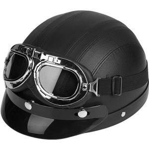 CASQUE MOTO SCOOTER Casque de Moto Scooter Demi Cuir Ouvert avec Visiè