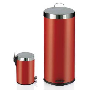 POUBELLE - CORBEILLE Lot de 2 poubelles 30L + 3L Rouge, GM : diamètre 4