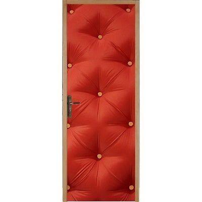 Papier Peint Porte Capitonné Rouge Dimensions Xcm Achat - Papier peint porte