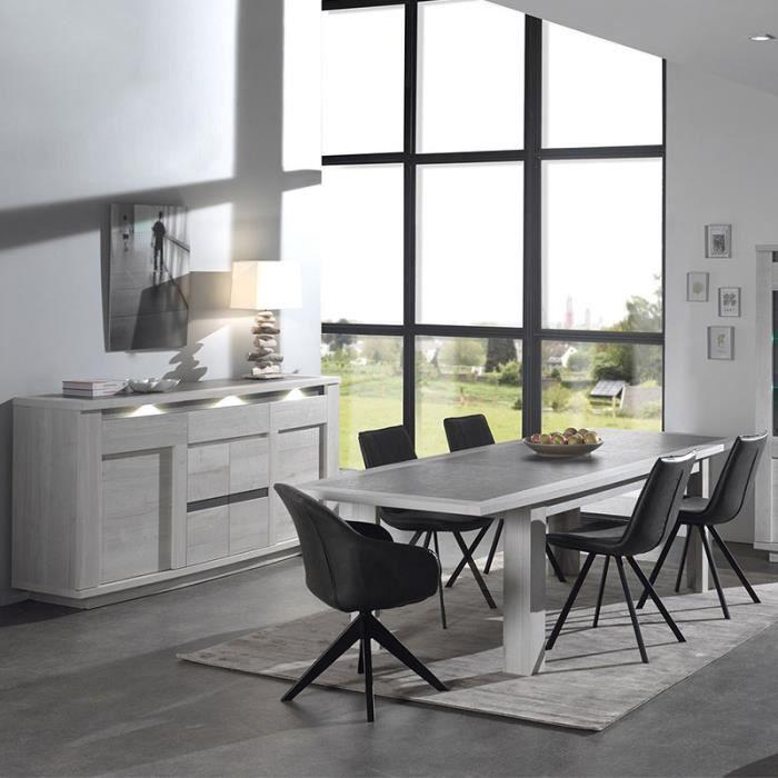 Salle à manger moderne couleur chêne blanc et gris CHILDERIC 180 cm