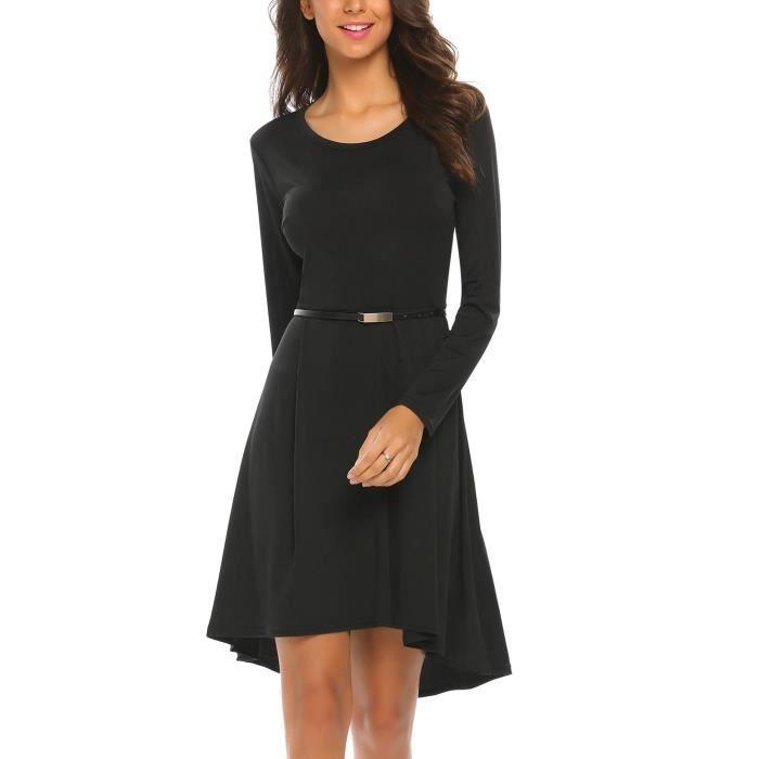 Robe de soirée Femmes à manches Longues plissé vendudécontractée avec ceinture