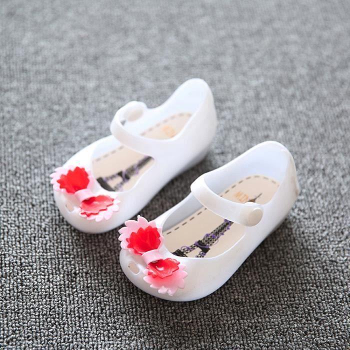 BOTTE Jolies filles bébé enfants détaillée gelée bowknot poisson bouche sandales bottes chaussures@Blanc