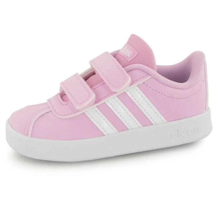 los angeles 36e80 64c6c Adidas Vl Court 2.0 Velcro rose, baskets mode enfant