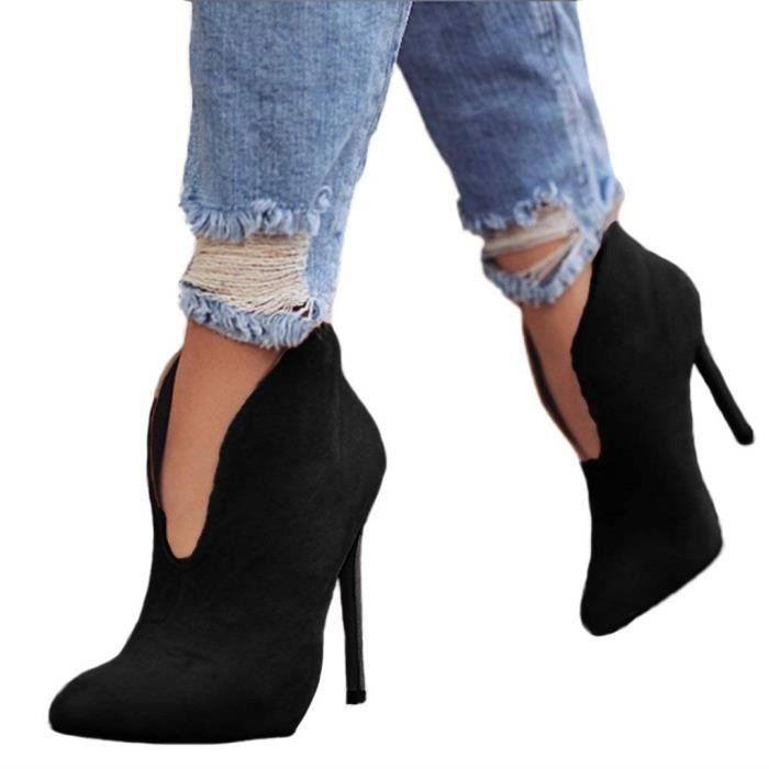 fbabc0cae38a Femmes Bootie Mode Bottes Sexy Hauts Talons Chaussures Printemps L Automne  Hiver High Heels Casual Boots