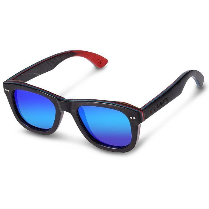 0b95b9a311d6ef Navaris lunettes de soleil Wayfarer UV400 - Femmes Hommes Lunettes en bois  skateboard - Lunettes en bois polarisées Aspect bois -