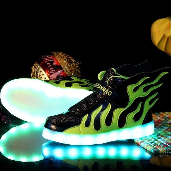 Enfant 7 Couleur Flamme USB Charge LED Lumière Lumineux ClignotantsChaussures de Sports Baskets Garçon Fille