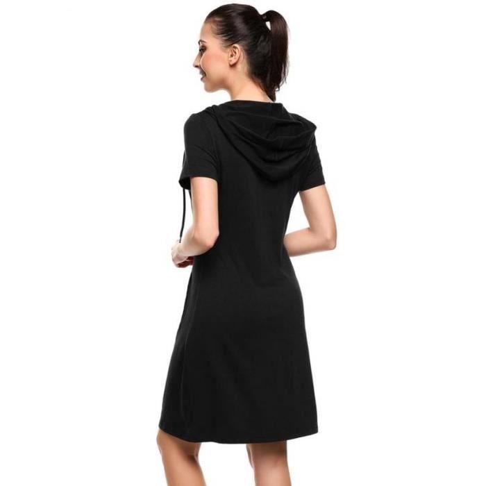 Robe à capuche courte solide femmes Casual capuche manches courtes