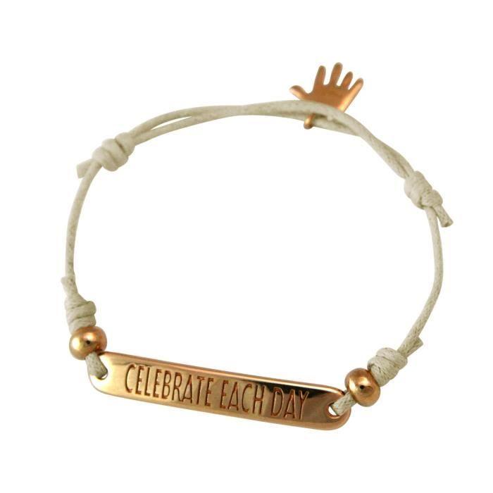 Gemshine - Dames - Bracelet - Gravure - CÉLÉBRER CHAQUE JOUR - plaqué or rose - gris clair