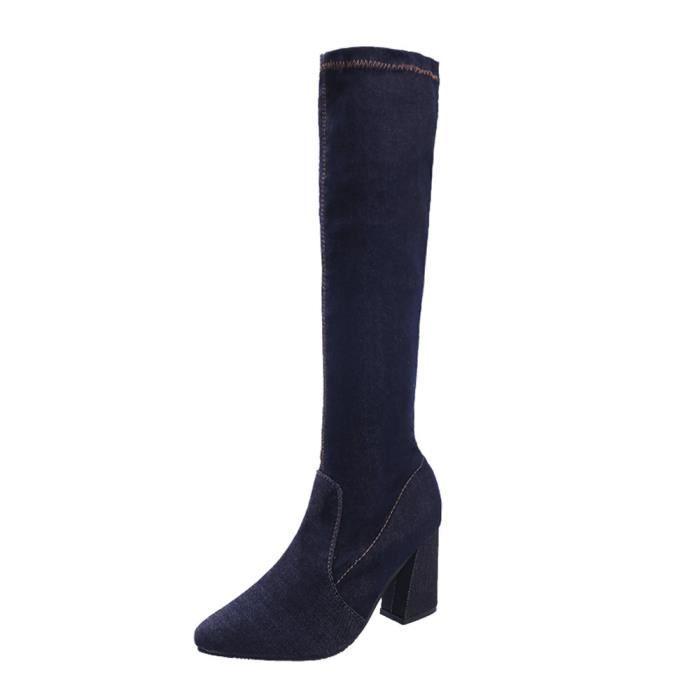 Mode féminine Chaussures Slim talons hauts bottes bout pointu Bottes de combat Noir ASD162 iFvtA4Zly