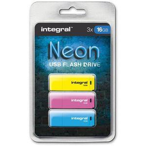 CLÉ USB INTEGRAL Pack de 3 clés USB 16Go Néon - Rose + Ble