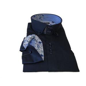 CHEMISE - CHEMISETTE Acces Prive-Chemise Homme  Col Italien Bleu a Fleu