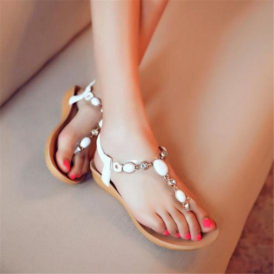 c209082270e4d Mode Femmes Massage confortables Sandales talon plat Chaussures de plates  perlée strass Blanc Blanc - Achat   Vente sandale - nu-pieds - Soldes  dès  le 9 ...