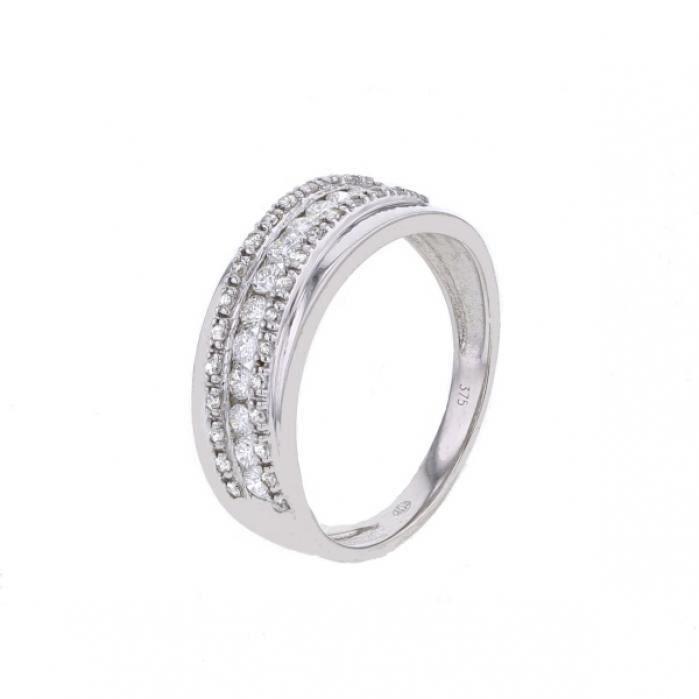 MONTE CARLO STAR - Bague en Or Blanc 9 Carats et Diamants Sertis Rails et Grains - Femme