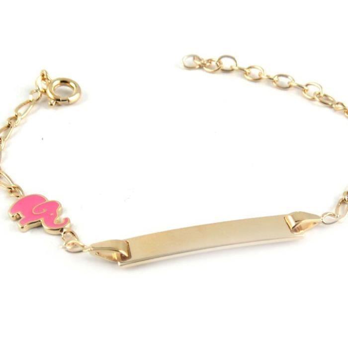 Gourmette Plaqué Or Bambino éléphant Rose Achat Vente Bracelet