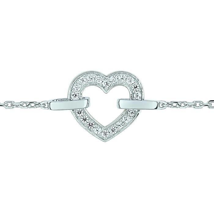 Bracelet Brillaxis coeur ajouré empierré or 9 carats