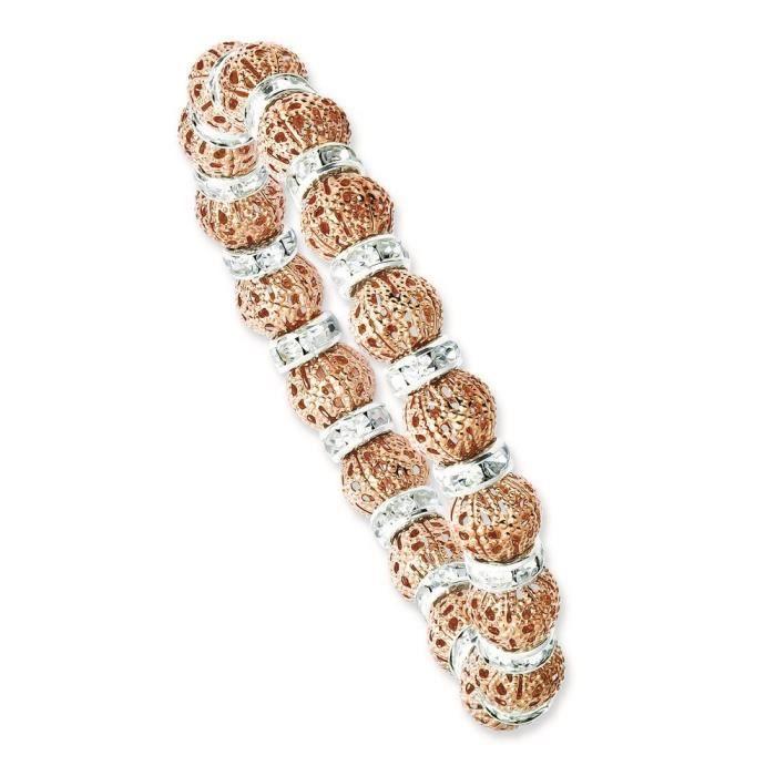 Couleur Cuivre et Argent/pierres Transparent-époxy-Bracelet élastique