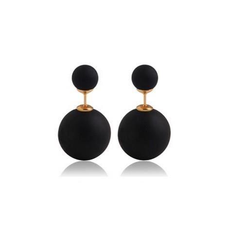 boucle d oreille double boule noir bijoux chic. Black Bedroom Furniture Sets. Home Design Ideas