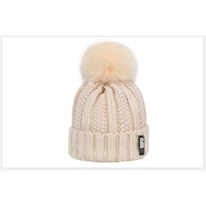 1 Bonnet en tricot doublé polaire peluche doux pour femme - bonnet chaud  hiver avec torsades et gros pompom fausse fourrure - BEIGE fdd2d123940