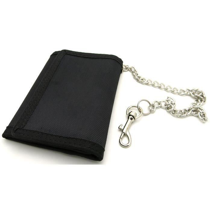 porte clefs portefeuille avec chaine securite noir achat. Black Bedroom Furniture Sets. Home Design Ideas