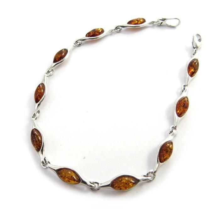 Les Trésors De Lily [N2498] - Bracelet Argent Inspiration ambre cognac (rhodié)
