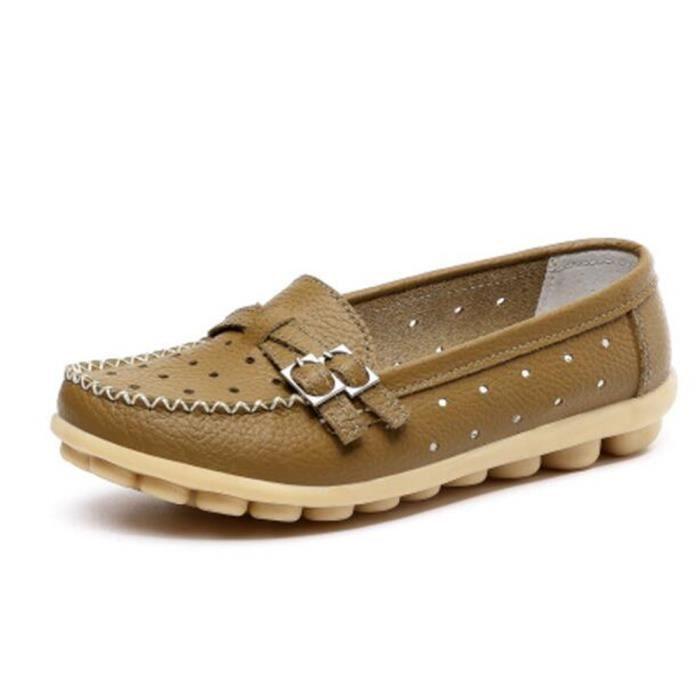 Moccasins femme en cuir de marque de luxe Chaussures femmes Grande Taille Loafer Nouvelle Mode Respirant Chaussure en cuir h3bKLWTh