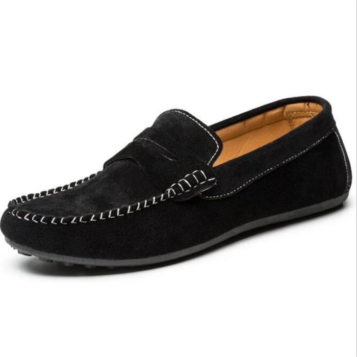 Moccasin hommes de plein air Pour randonnée agréable Chaussures Marque De Luxe doux Poids Léger Antidérapant Grande Taille