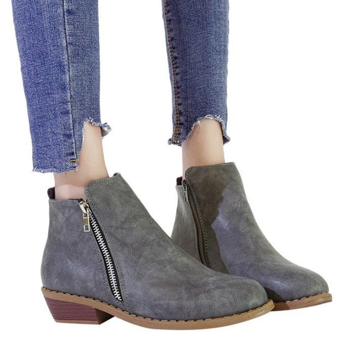 Chaussures Femmes Bottes en Chaussures rond Zipper cuir Martin Carré Bottes bout simples talon 0wOPkn