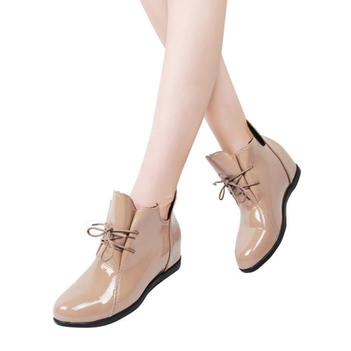 De plus Velvet Surélévation des femmes Bottes antidérapants Bottes Martin brevet Chaussures en cuir