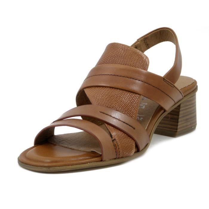 grandes marques nouvelle collection 100% de qualité supérieure TAMARIS, sandale femme, cuir marron, talon 5 cm, 28019