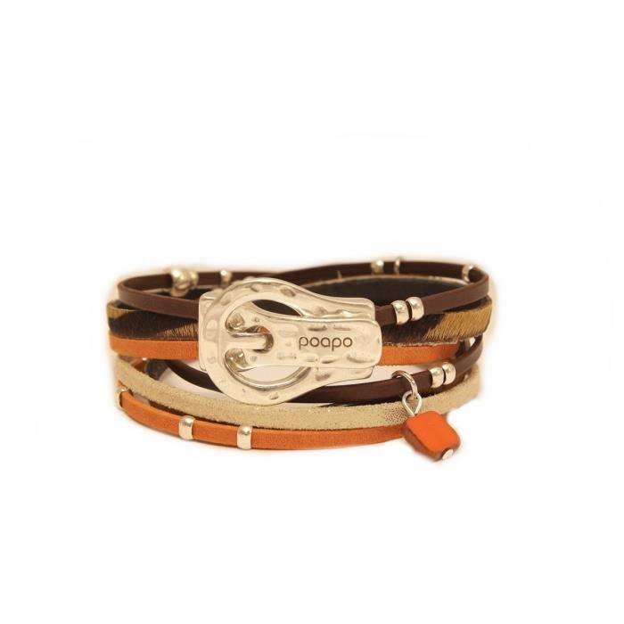 Bracelet avec lanières de cuir Will Mandarine- Taille : M - Couleur marketing : Orange