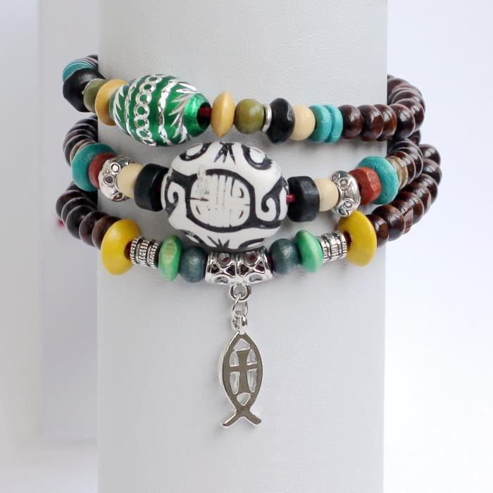 Bracelet en perles de femmes prière perles Bracelet Rosaire Perles Bracelet Bracelet Croix Jésus Poisson Brac B7GB1