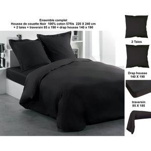 HOUSSE DE COUETTE SEULE Parure de couette Noir 220x240cm +2 taies 63X63 +
