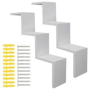 blanc lot de 2 tag res murale design tag re murale escalier pour des livres achat vente. Black Bedroom Furniture Sets. Home Design Ideas