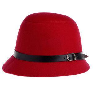 CHAPEAU - BOB Vbiger Chapeau Cloche 100% en Laine Rétro Simple O ... 364018b748c