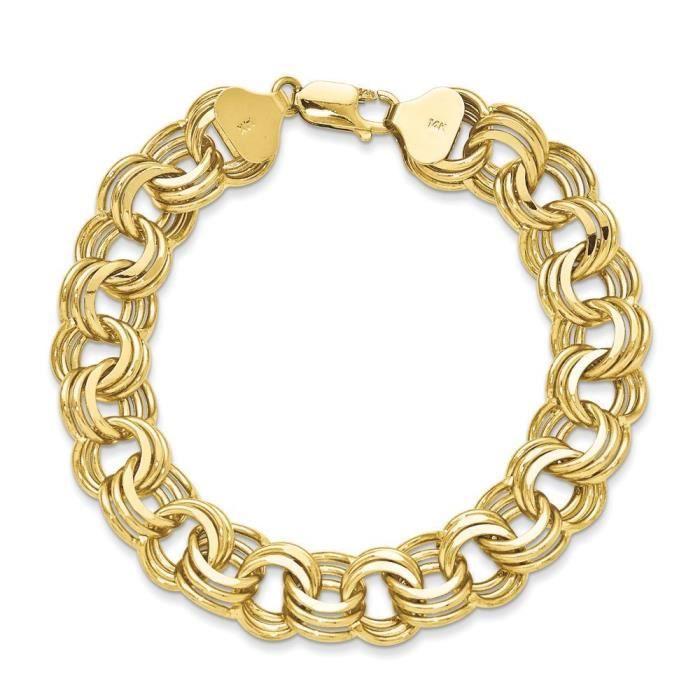 14carats–Bracelet Femme–Triple Lien Charme 19,1cm–Fermoir–16