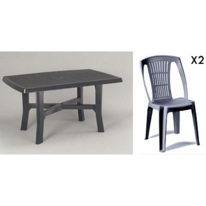 Table rectangulaire grise 138 cm + 2 chaises jardin plastique gris ...