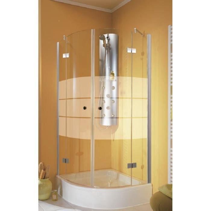 paroi de douche arrondie 90x90x190 cm anticalcaire portes de douche battantes en angle 1 4 de. Black Bedroom Furniture Sets. Home Design Ideas