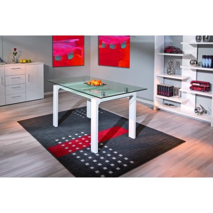 table, mdf blanc, plateau haut verre 10mm/ bas 8mm - achat / vente