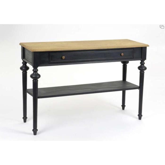meuble console bois noir sur 2 niveaux amadeus achat. Black Bedroom Furniture Sets. Home Design Ideas