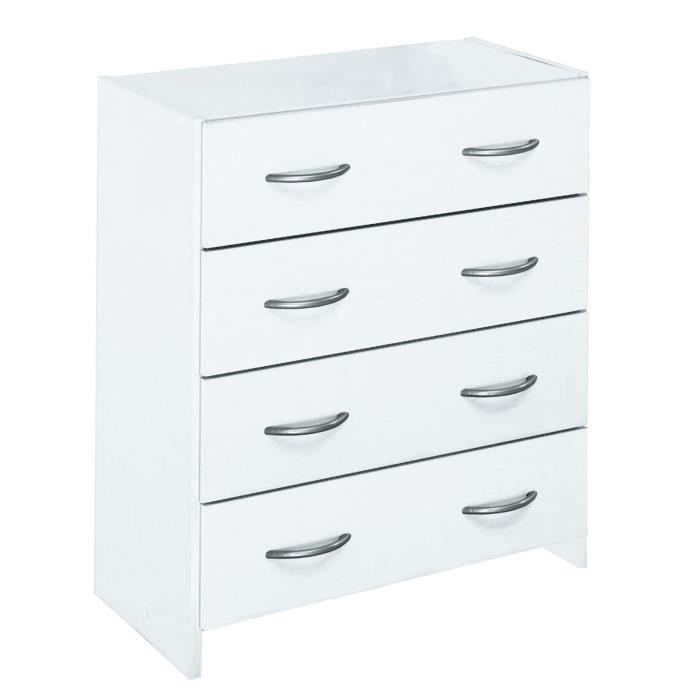 Zoom Commode 4 Tiroirs Blanc Achat Vente Commode De Chambre Zoom